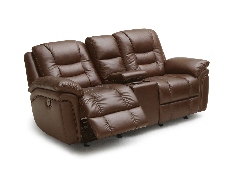 Craney Brown Leather Power Glider Recliner Loveseat