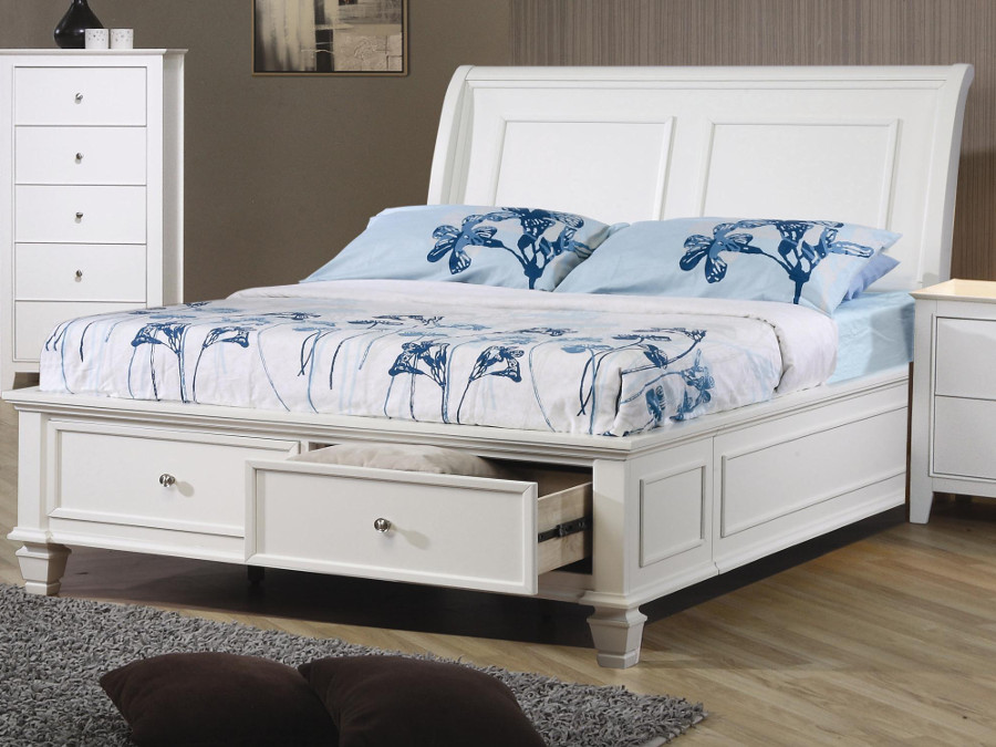 Selena Storage White Full Bed