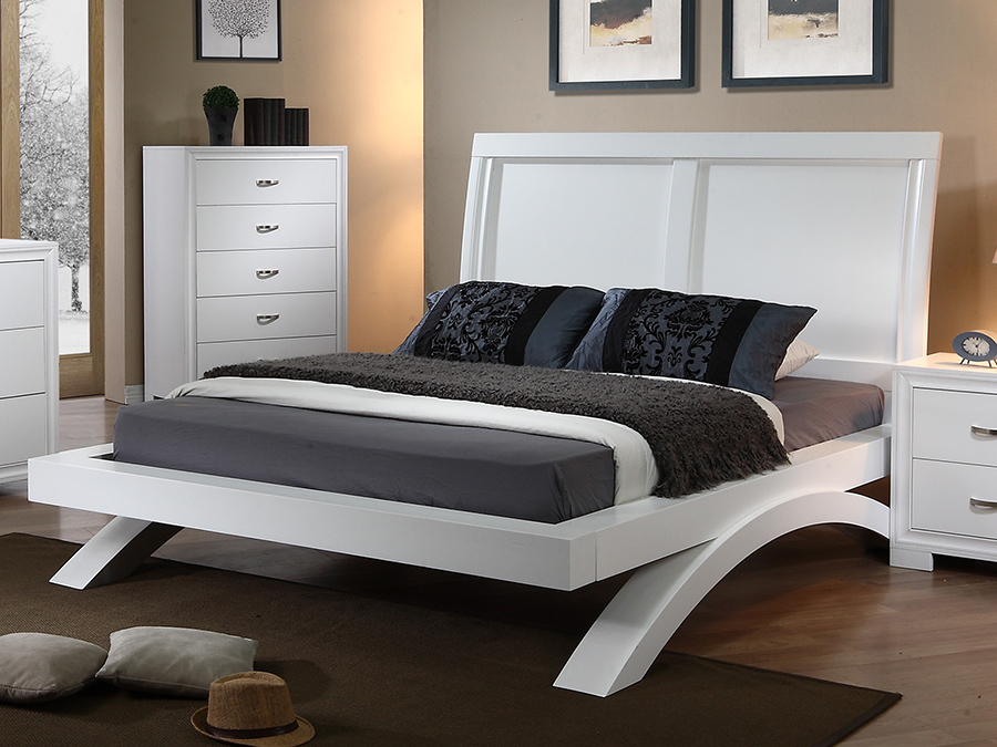 Raven White Queen Bed