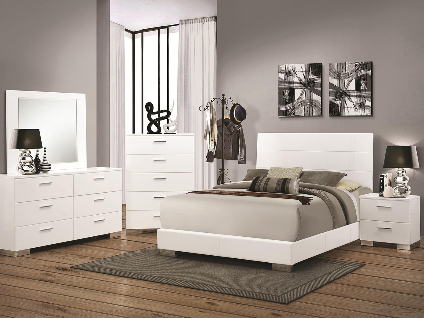 Rana Furniture Bedroom Sets Jeremaine White Mirror