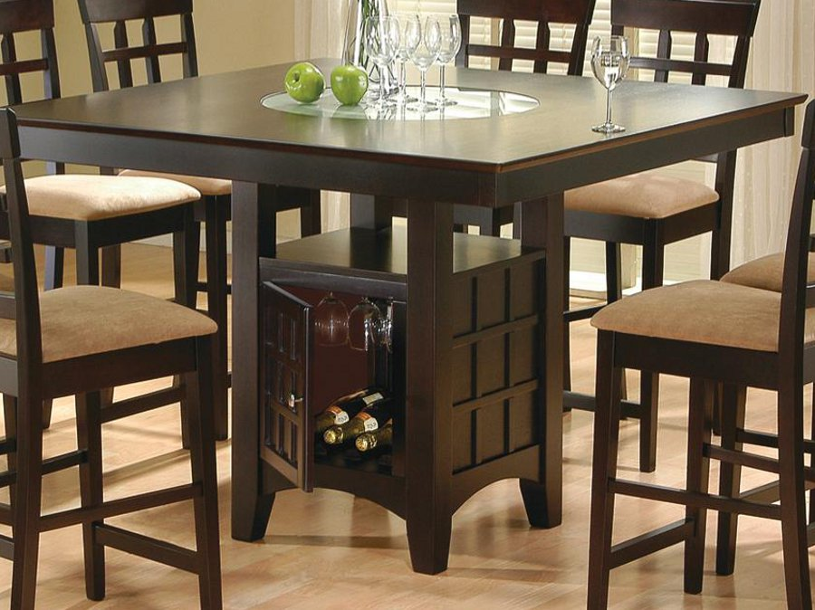 Square Lazy Susan Counter Height Table
