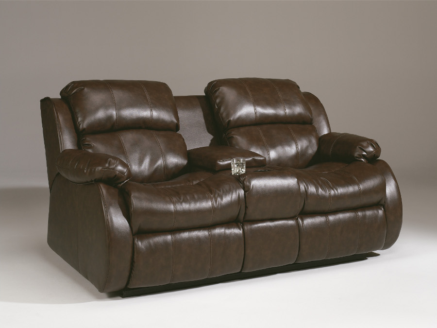 Mollifield double reclining loveseat with console Reclining loveseat with center console