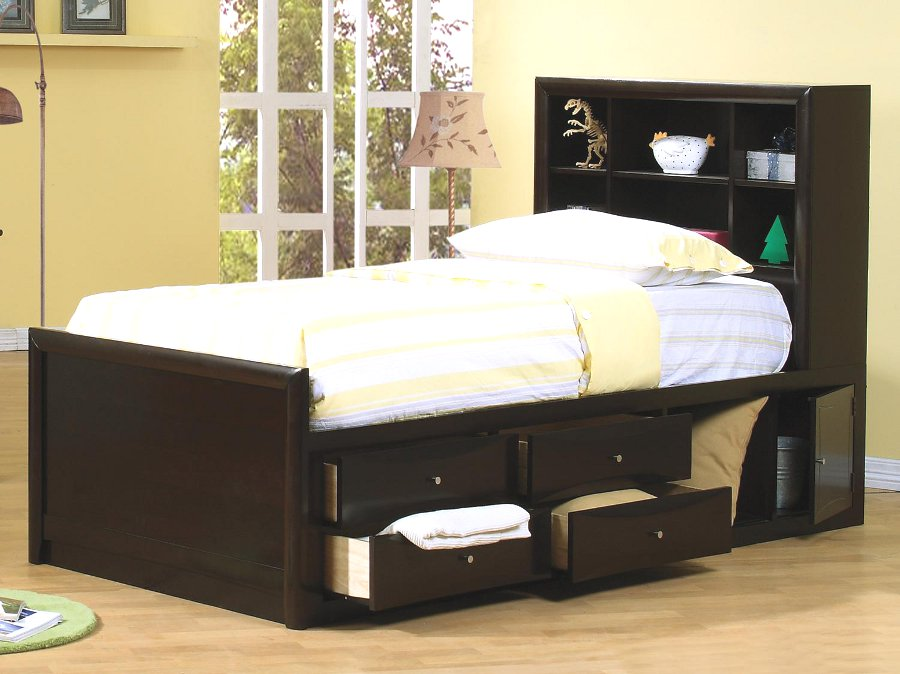 Phoenix twin bed with underbed storage - Twin bed for small space property ...