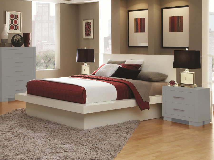 Jessica white queen platform bed - White queen platform bedroom set ...