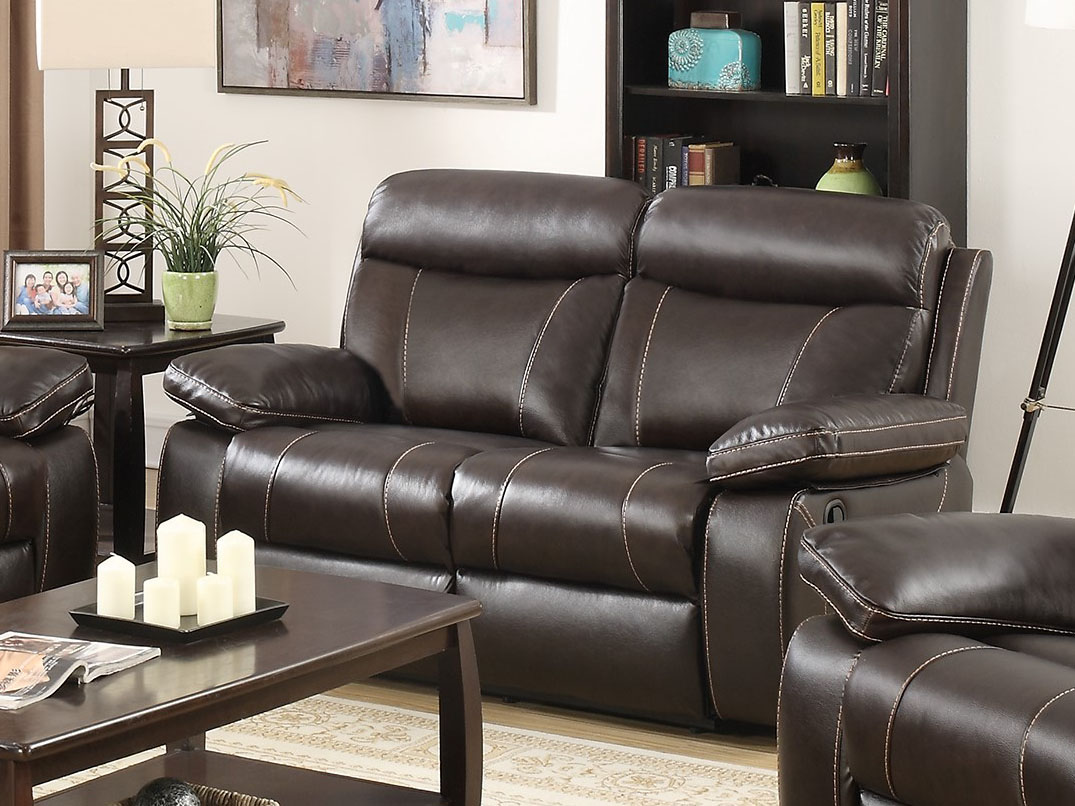 Rana Furniture Living Room Glenda Chocolate Reclining Leather Match Sofa